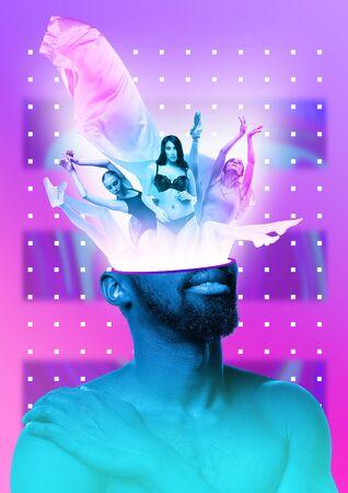 Mannelijk lichaam van Afro-Amerikaans model met het hoofd vol gedachten over sport, dansen, meisjes, ballet, relatie. Trendy neonlicht, achtergrond met kleurovergang. Modern ontwerp. Hedendaagse kunstcollage. Stockfoto