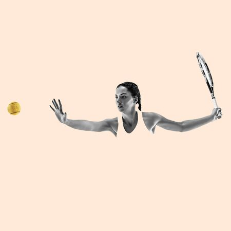 Portrait of young woman playing tennis isolated on studio background. Healthy lifestyle. Fitness, sport, action, advertising concept. Female model in motion or movement. Abstract design. Banque d'images