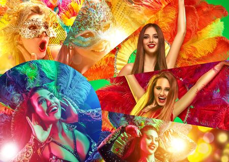 Beautiful surprised women in carnival mask. Models wearing masquerade masks at party on background with magic glow. Christmas and New Year celebration. Collage made of different photos of 4 people. Stock Photo