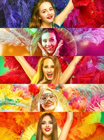 Beautiful surprised women in carnival mask. Models wearing masquerade masks at party on background with magic glow. Christmas and New Year celebration. Collage made of different photos of 5 people.