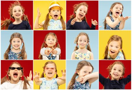 Beautiful emotional little girls isolated on multicolored background. Half-lenght portrait of two sisters full of happieness. Collage made of photos of 2 models. Concept of summer, emotions, childhood. Stock Photo