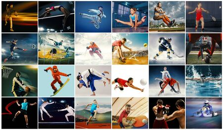 Collage creativo de fotos de 26 modelos. Tenis, correr, bádminton, natación, baloncesto, balonmano, voleibol, fútbol americano, jugadores de rugby, snowboard, tenis, hockey en movimiento