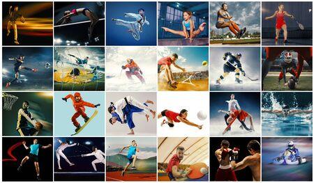 Kreative Collage aus Fotos von 26 Modellen. Tennis, Laufen, Badminton, Schwimmen, Basketball, Handball, Volleyball, American Football, Rugbyspieler Snowboarden Tennishockey in Bewegung