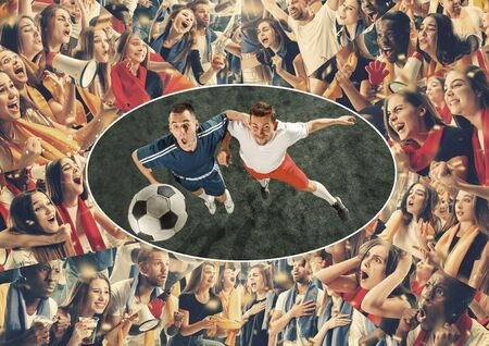Group of happy fans are cheering for their team victory. Male and female models as a fans of football or soccer team while its match at the stadium. Collage made of different photos of 11 people.