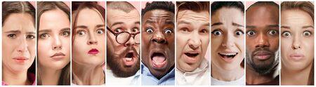 Rechazo, rechazo, concepto de duda. Personas dudosas con expresión pensativa y conmocionada, se preguntaban. Hombres y mujeres jóvenes emocionales. Las emociones humanas, el concepto de expresión facial. Collage creativo.