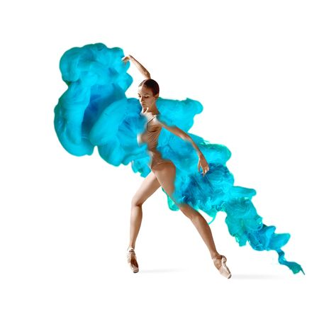 Abstract creative collage formed by color dissolving in water on white background. Bright combination of colors. Young dancer in clouds of smoke or dissolves. Graceful, flexibility and elegance.