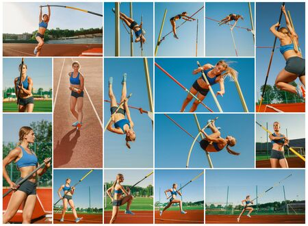 Professional female high jumper training at the stadium in sunny day. Fit model practicing in high jumps outdoors. Concept of sport, healthy lifestyle, action, movement, motion. Creative collage.