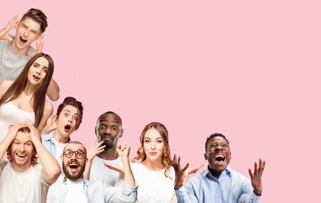 Collage of close up portraits of 8 young people on coral pink background. The human emotions, facial expression concept. Celebrating, wondering, feeling like a winners, astonished and shocked.