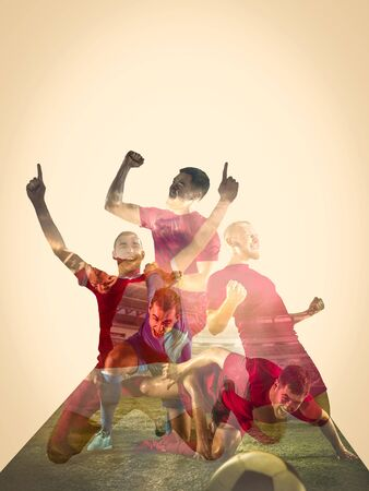 Male football players emotional celebrating. Sportsmen of red and blue team after the goal. Soccer or football fans. Creative collage of 3 people. Movement, action, motion, sport and healthy lifestyle.