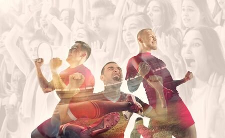 Male football players emotional celebrating. Sportsmen of red and blue team after the goal. Soccer or football fans. Creative collage of 12 people. Movement, action, motion, sport and healthy lifestyle.