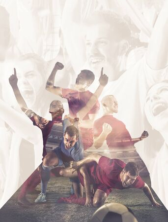 Male football players emotional celebrating. Sportsmen of red and blue team after the goal. Soccer or football fans. Creative collage of 6 people. Movement, action, motion, sport and healthy lifestyle.