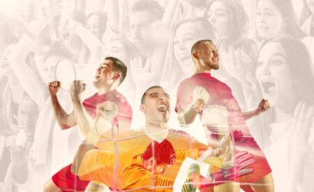 Male football players emotional celebrating. Sportsmen of red and blue team after the goal. Soccer or football fans. Creative collage of 11 people. Movement, action, motion, sport and healthy lifestyle.