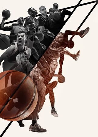 Creative collage of different photos of 4 basketball players with the balls in action of game. Black and white photos. Advertising, sport, healthy lifestyle, motion, activity, movement concept.