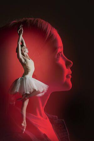Dreams of little girl to be a ballerina, creative collage. Foto de archivo