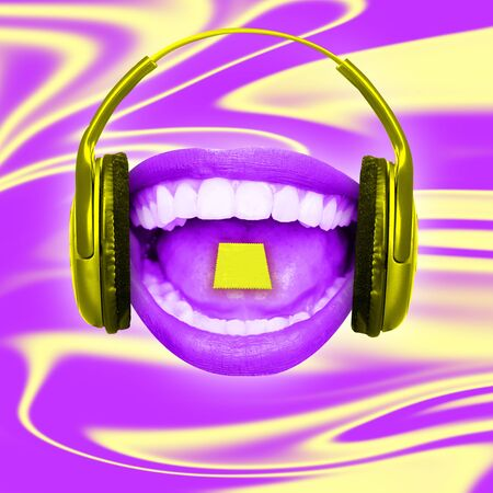 Female mouth with big headphones on yellow-purple background. Negative space to insert your text. Modern design. Contemporary art collage. An alternative resting, electronic music concept. Standard-Bild - 127504635