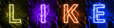 Social medias interactions in colorful neon light. Internet digital marketing, modern mass medias term. Sign against dark background. Stylized colorful letters of LIKE banner. Stock Photo