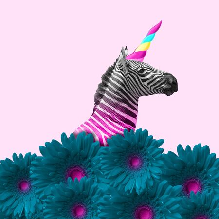 Dreaming about being better. An alternative zebra like a unicorn in blue flowers on pink background. Negative space. Modern design. Contemporary art. Creative conceptual and colorful collage. Stok Fotoğraf - 127691532