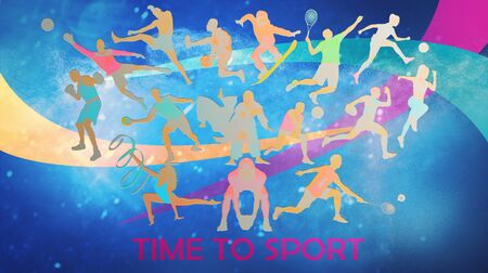 Creative collage of drawned silhouettes of sportsmen. Advertising, sport, healthy lifestyle, motion, activity, movement concept. American football, soccer, tennis volleyball box badminton rugby