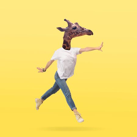 Female body in jeans and white shirt headed by giraffe head against yellow background. Negative space to insert your text. Modern design. Contemporary art collage. Vacation, summer, resort.