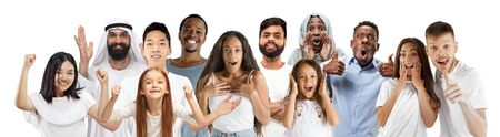 Collage of happy caucasian, asian and african-american people looks happy. Male and female models on white studio background. Victory, delight concept. Human facial emotions. Winning, windering, crazy.