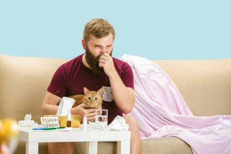 Young man suffering from allergy to cat hair. Having skin rash, itching, Sneezing in the napkin, sitting surrounded by used napkins, holding the pet. Taking medicine with no result. Healthcare concept.