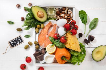 Ketogene kohlenhydratarme Ernährung - Lebensmittelauswahl auf weißem Holzhintergrund. Ausgewogene gesunde Bio-Zutaten mit hohem Fettgehalt. Ernährung für Herz und Blutgefäße. Fleisch, Fisch und Gemüse.