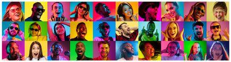 Hermoso retrato masculino y femenino sobre fondo de luz de neón multicolor. Sonriendo, sorprendido, gritando. Las emociones humanas, la expresión facial. Collage creativo hecho de diferentes fotos de 16 modelos.