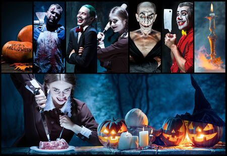 Mystical characters in nightly creative collage made of different photos of 5 models. Concept of horror, Halloween. Pumpking with the candle indside it. Witches, demons, murderers. Autumns tradition. 版權商用圖片