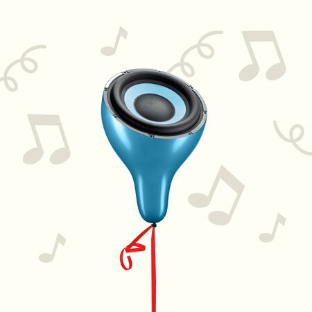 Concept of light and thin sound. Blue balloon as a music speaker on grey background. Negative space to insert your text. Modern design. Contemporary art collage. Favourite songs sounds like it.