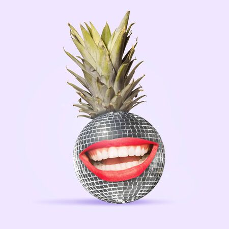 An alternative view of usual fruits. Disco ball as a pineapple on purple background. Negative space to insert your text. Modern design. Contemporary art collage. Concept of music, dance.