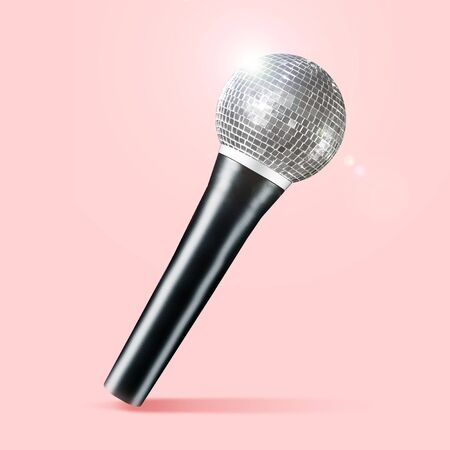 Talented singer, concept of brilliant voice. Microphone as a disco ball on coral background. Negative space to insert your text. Modern design. Contemporary art collage. Music, festival, show.