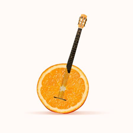 Juicy sound of favourite songs. Orange as a body of acoustic guitar on white background. Negative space to insert your text. Modern design. Contemporary art collage. Concept of music. New look for festival.
