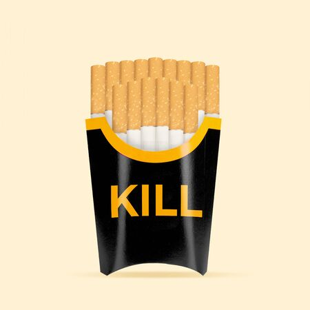 Bad habit on the go. Cigarettes as a fried potato on yellow background. Negative space to insert your text. Modern design. Contemporary art collage. Concept of nutrition, taste, smoking, food.