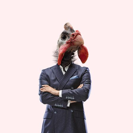 Look like a boss. Office worker. Male body in suit headed by gobbler. Negative space to insert your text. Modern design. Contemporary art collage. Concept of human nature, thirst for power.