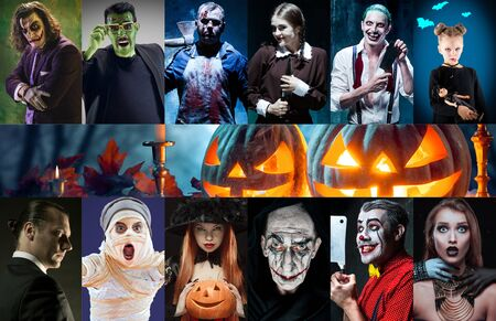 Mystical characters in nightly creative collage made of different photos of 9 models. Concept of horror, Halloween. Pumpking with the candle indside it. Witches, demons, murderers. Autumns tradition.