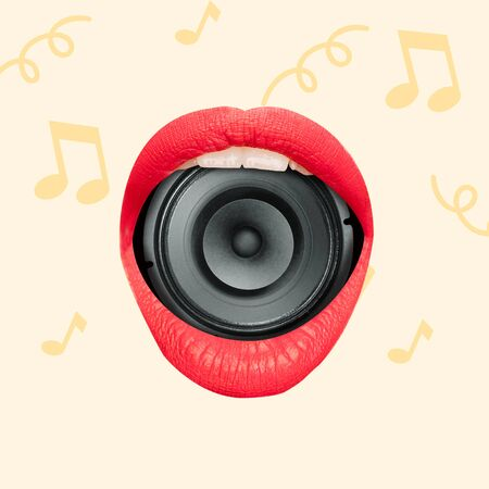 Talented singer, concept of brilliant voice. Female mouth with red lips holding music speaker on yellow background. Negative space to insert your text. Modern design. Contemporary art collage. Stock Photo