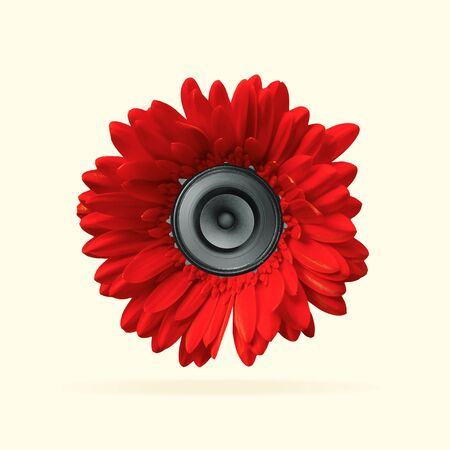 Juicy sound of favourite songs. Red flower with speaker inside it on yellow background. Negative space to insert your text. Modern design. Contemporary art collage. Concept of music. New look for festival.