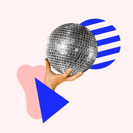 Lets have a party. Human hand holding disco ball, geometric background. Negative space to insert your text. Modern design. Contemporary art collage. Concept of music, festival, dance.
