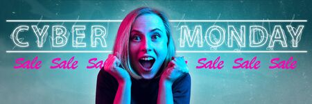 Cyber monday, sales, purchases concept. Neon lighted letters on gradient background. Astonished woman calling. Negative space. Modern design. Contemporary art. Creative conceptual and colorful collage.