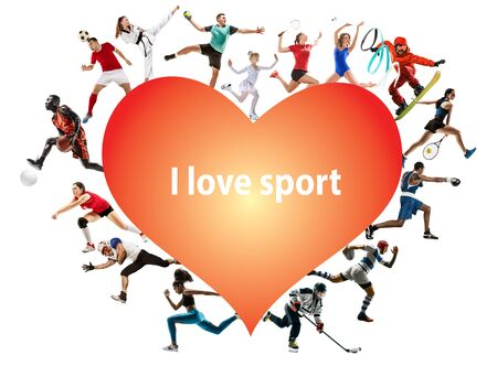 Creative collage of photos of 15 models. I love sport. Ad, healthy lifestyle, motion, activity, movement concept. American football, soccer, tennis volleyball box badminton rugby. White background.