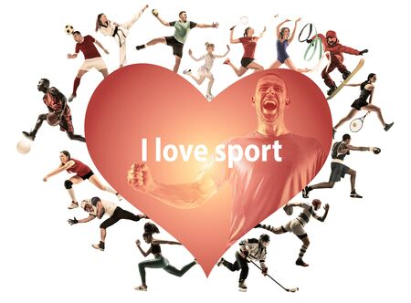 Creative collage of photos of 16 models. I love sport. Ad, healthy lifestyle, motion, activity, movement concept. American football, soccer, tennis volleyball box badminton rugby. White background