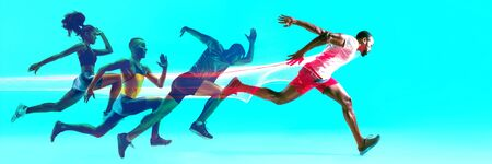 Creative collage of photos of 4 models running and jumping. Ad, sport, healthy lifestyle, motion, activity, movement concept. Male and female sportsmans of different ethnicities. Blue background. Stock Photo