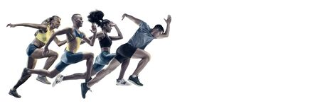 Creative collage of photos of 4 models running and jumping. Ad, sport, healthy lifestyle, motion, activity, movement concept. Male and female sportsmans of different ethnicities. White background.
