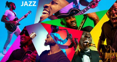 Young african-american musicians playing the guitar, saxophone, drums and singing in neon light in multicolored background. Concept of music, hobby, retro. Collage made of photo of 3 models. 写真素材