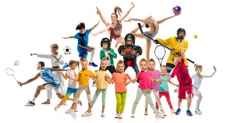Creative collage of photos of 17 models. Kids in sport. Advertising, sport, healthy lifestyle, motion, activity, movement concept. American football, soccer, tennis volleyball box badminton rugby