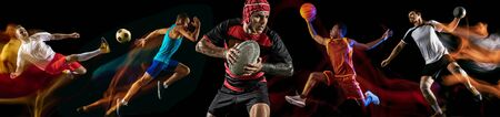 Creative collage of photos of 5 models on black in mixed light. Advertising, sport, healthy lifestyle, motion, activity, movement concept. American football, soccer, tennis volleyball basketball rugby Stockfoto