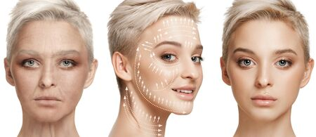 Beautiful female face isolated on white background. Concept of bodycare, cosmetics, skincare and lifting, correction surgery, beauty and perfect skin. Colorful flyer for your advertising. Antiaging.