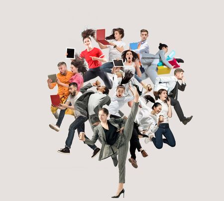 Happy office workers jumping and dancing in casual clothes or suit with folders, coffee, tablet on white. Ballet dancers. Business, start-up, working open-space, motion, action. Creative collage.