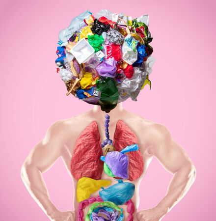 We are what we eat - concept of environmental pollution of plastic. Male body with internal organs of polymer garbage. Lungs, stomach, intestines. Ecology, healthcare, planets problems of cleaning.