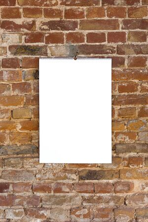 Mock up blank empty picture or sheet on the brown brick wall Stock Photo